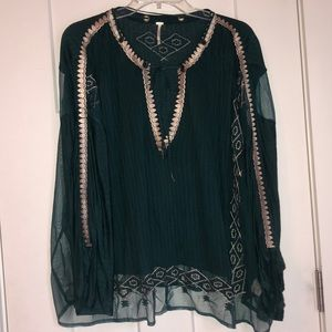 Free People Green/Gold v-neck tie top - Medium